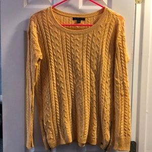 Yellow cable knit side zip sweater